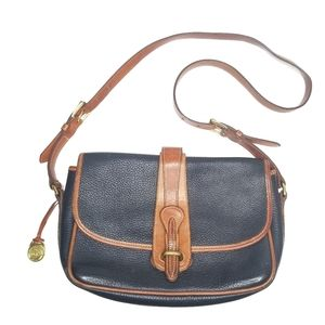 Vintage Dooney & Bourke Saddle Crossbody Navy Tan